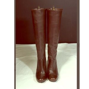 Coach Krista tall leather back zipper brown boots